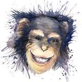 Małpie szympans koszulki grafika szympans ilustracja z pluśnięcia akwarela textured tłem niezwykła ilustraci woda ilustracja wektor