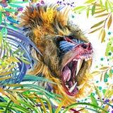 Małpuje w tropikalny las deszczowy akwareli natury tropikalnej ilustraci przyroda ilustracja wektor