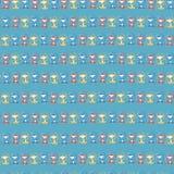 Małpy błękitnej czerwieni żółty bezszwowy wzór z rzędu royalty ilustracja