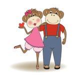 Małpy dobierają się w miłości ilustracja wektor