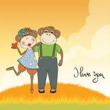 Małpy dobierają się w miłości ilustracji