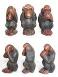 małpy drewniany mądry trzy Zdjęcia Royalty Free