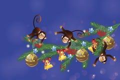 Małpy na świątecznej gałąź royalty ilustracja