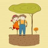 Małpy para w miłości ilustracji