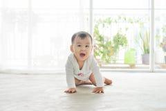 Mały ładny dziewczynki czołganie na podłoga w domu Fotografia Stock
