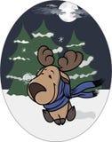 Mały łoś amerykański na tle zima las ilustracji