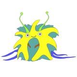 Mały, śliczny śmieszny astronautyczny potwór, odizolowywający na białym tle ilustracji