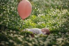 Mały śliczny dziewczynki lying on the beach na trawie w parku w letnim dniu obraz royalty free