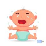 Mały śliczny nowonarodzony dziecko płacz, płaska ilustracja royalty ilustracja