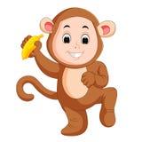 Mały śmieszny dziecko jest ubranym małpiego kostium ilustracja wektor