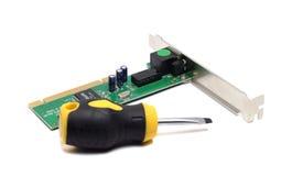 Mały śrubokręt i sieć adaptator Obrazy Stock