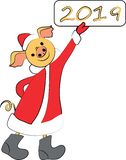 Mały Święty Mikołaj z znakiem nowy rok obrazy stock
