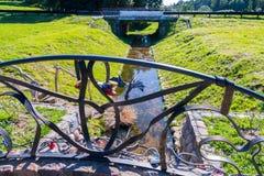 Mały źródło woda wokoło którego jest zielona trawa Przez go piękny most kłaść Obrazy Stock