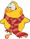 Kurczak z szalik kreskówką ilustracji