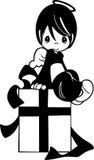 Mały anioł chłopiec obsiadanie na giftbox Zdjęcia Stock
