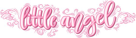 Mały anioła literowanie w różowej inskrypcji odizolowywającej na białym tle ilustracja wektor