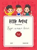 Mały artysta, dzieciaka dyplomu obrazu świadectwa kursowy szablon royalty ilustracja