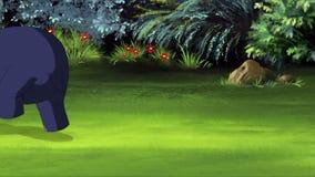 Mały błękitny hipopotam biega z powrotem widok
