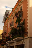 Mały balkon pięknie dekorujący z różnorodnymi roślinami i kwiatami Obraz Royalty Free