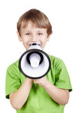 mały chłopiec megafon Fotografia Stock