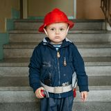 mały chłopiec strażak Fotografia Royalty Free