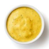 Mały condiment puchar żółty curry'ego kumberland Od above Zdjęcia Stock
