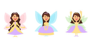 Mały czarodziejski dziewczyny whith uskrzydla w balowych sukniach i również zwrócić corel ilustracji wektora Obrazy Stock