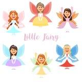 Mały czarodziejski dziewczyny whith uskrzydla w balowych sukniach i również zwrócić corel ilustracji wektora Obraz Royalty Free