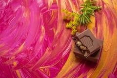 Mały czekoladowy bar obok rośliny na ręce malował tło Neutralny kolory dla projektantów fotografia royalty free