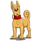 Mały czerwień pies z czerwonym kołnierzem w kreskówka stylu ilustracji