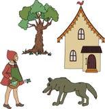 Mały Czerwony Jeździecki kapiszon. ilustracji