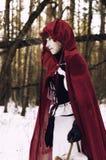 Mały Czerwony Jeździecki kapiszon iść przez drewien babcia Fotografia Stock