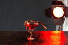 Mały czerwony wąż z językiem w szkle z czerwonym cieczem przeciw tłu reflektor i ciemny tło fotografia stock