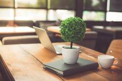 Mały dekoruje drzewa, laptopu, notatnika i filiżanki wewnątrz na woode, obrazy stock