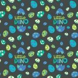 Mały Dino literowanie z Kolorowymi Łaciastymi dinosaurów jajkami na Ciemnego tła Bezszwowej Deseniowej Wektorowej ilustracji zdjęcia stock