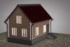 Mały dom z czerwień dachem Fotografia Stock