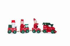 Mały drewniany boże narodzenie zabawki pociąg Zdjęcia Stock