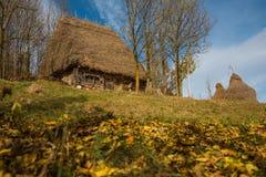 Mały drewniany dom z pokrywającym strzechą dachem Obraz Stock