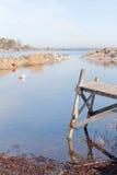 Mały drewniany most, wybrzeże i wyspy, Fotografia Stock