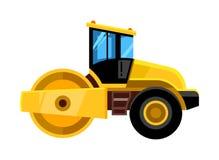 Mały drogowy rolownik żółty budowa asfaltu rolownika ciężarówki transport dla budowniczego wektoru pojazdu ilustracji