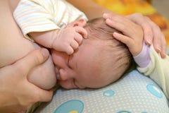 Mały dziecko odprasowywa dziecka na głowie piersią Obrazy Royalty Free