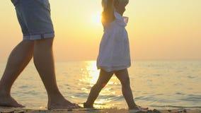 Mały dziecko uczy się chodzić pierwsze kroki Zwolnionego Tempa 120 fps Ojciec uczy on dziecka, mała dziewczynka robić pierwszy zbiory wideo