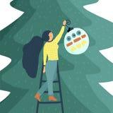 Mały dziewczyna charakter dekoruje choinki Mieszkanie stylowa wektorowa ilustracja ilustracji