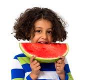 mały dziewczyny jedzący arbuz Fotografia Royalty Free