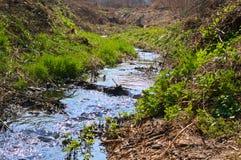 Mały halny rzeczny strumienia spływanie, Ledinci, Serbia Zdjęcie Stock