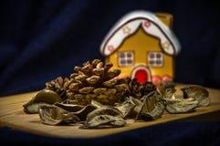 Mały imbiru dom na drewnianej desce z sosnowymi rożkami Fotografia Royalty Free