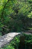 Mały kamienia most nad strumieniem w Cinque Terre, Włochy obrazy stock