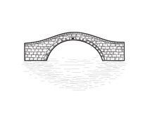Mały kamienia mosta znak odizolowywający Grawerować retro ilustrację Zdjęcie Stock