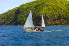 Mały kecza żeglowanie w karaibskim Zdjęcia Royalty Free