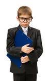 Mały kierownik utrzymuje falcówkę Fotografia Stock